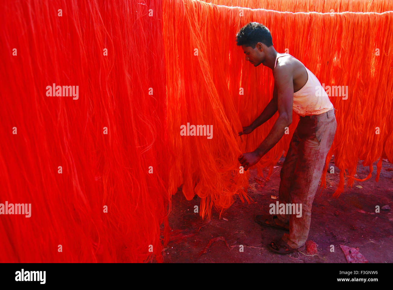 Labours separate silky threads for making silky garlands - Stock Image