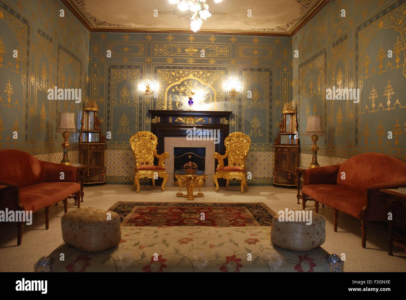 Gold work in room Rampuria Haveli now hotel Bhanwar Niwas ; Bikaner ; Rajasthan ; India - Stock Image