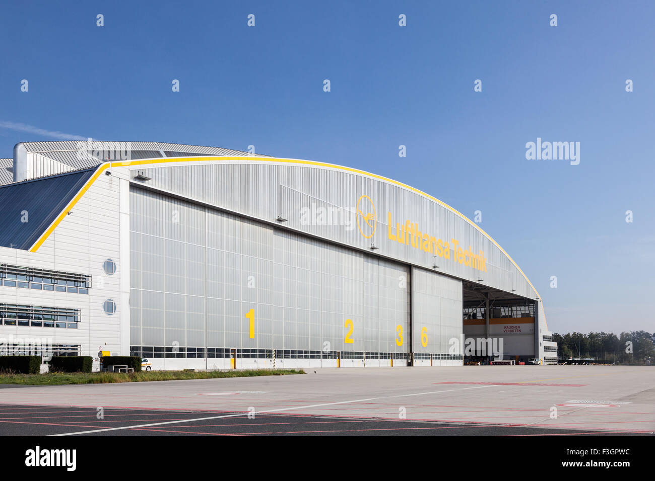 Lufthansa Technique Hangar at the Frankfurt Airport - Stock Image