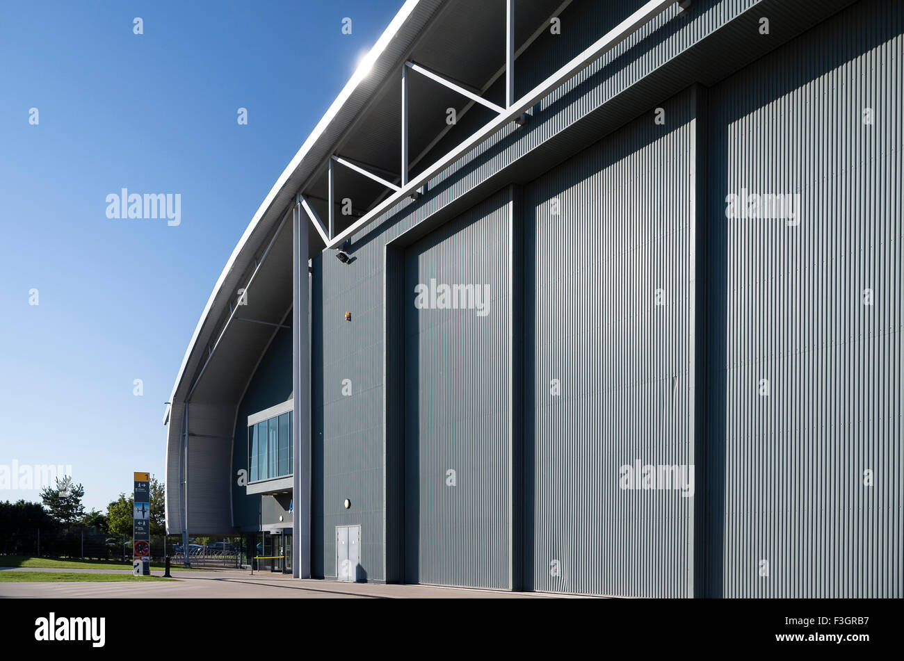Giant sliding doors and entrance to AirSpace hangar at IWM Duxford UK - Stock Image