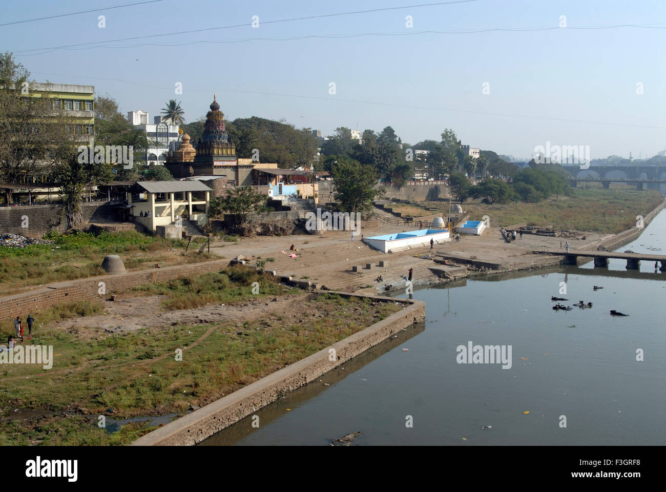 Polluted river Mutha at Pune and ghat near Maharashtra ; India - Stock Image