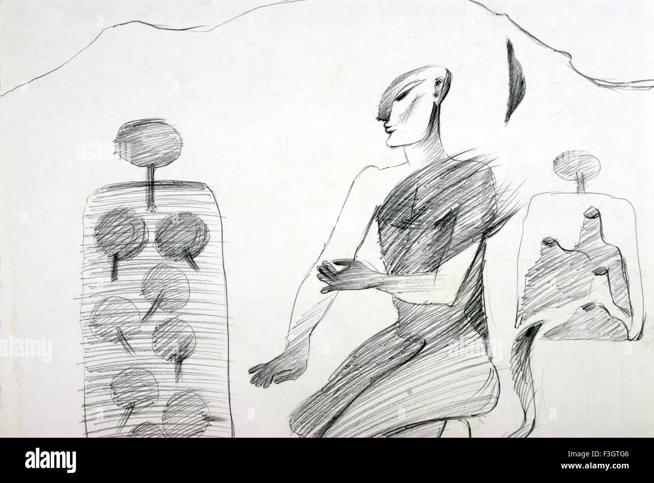 Praying man in nature pencil drawing stock image