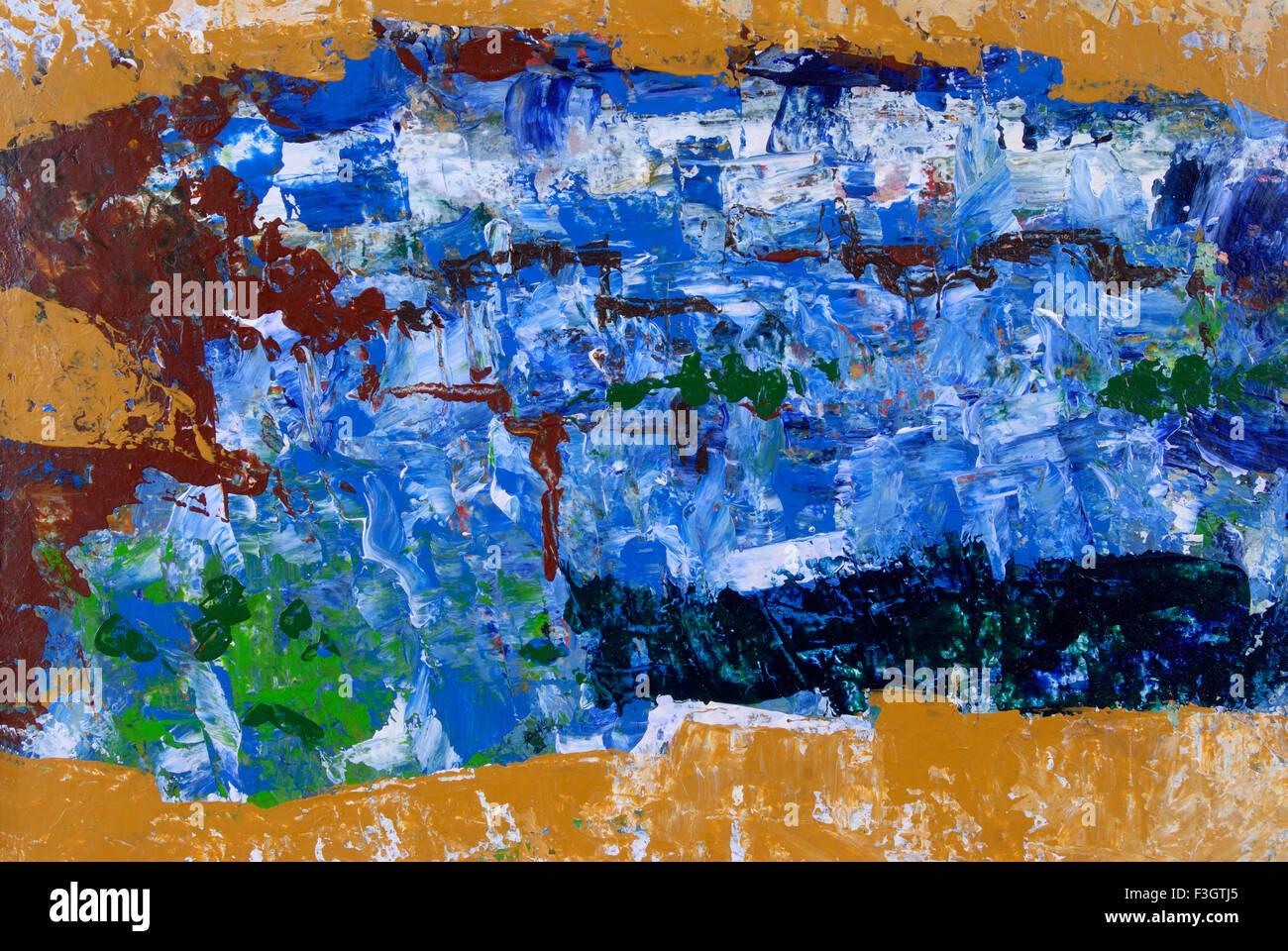 Impression of jodhpur city acrylic colors on handmade paper - Stock Image