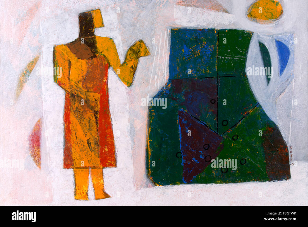 Man with his day today garbage acrylic colors on handmade paper - Stock Image