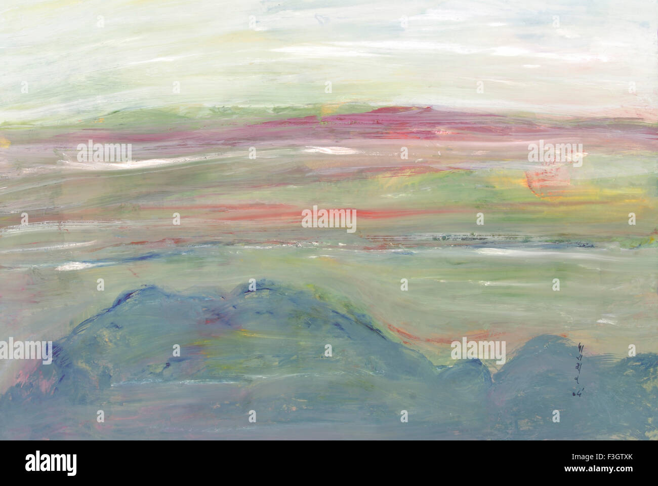 Abstract ; mountain scape before sunrise watercolor on paper ; Kerala ; India - Stock Image
