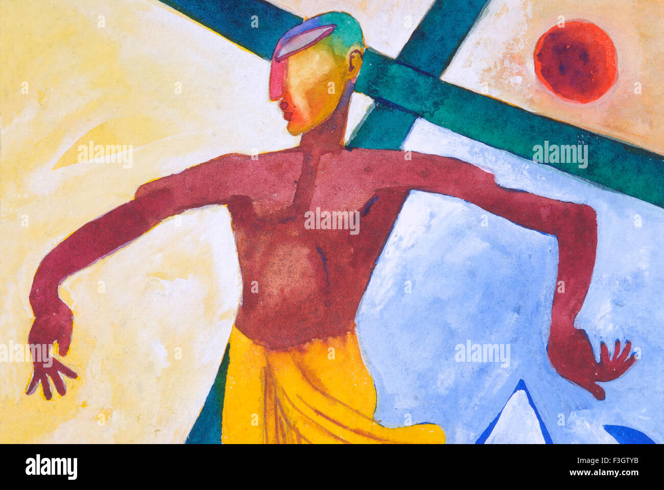 Christ on cross watercolor painting on handmade paper - Stock Image