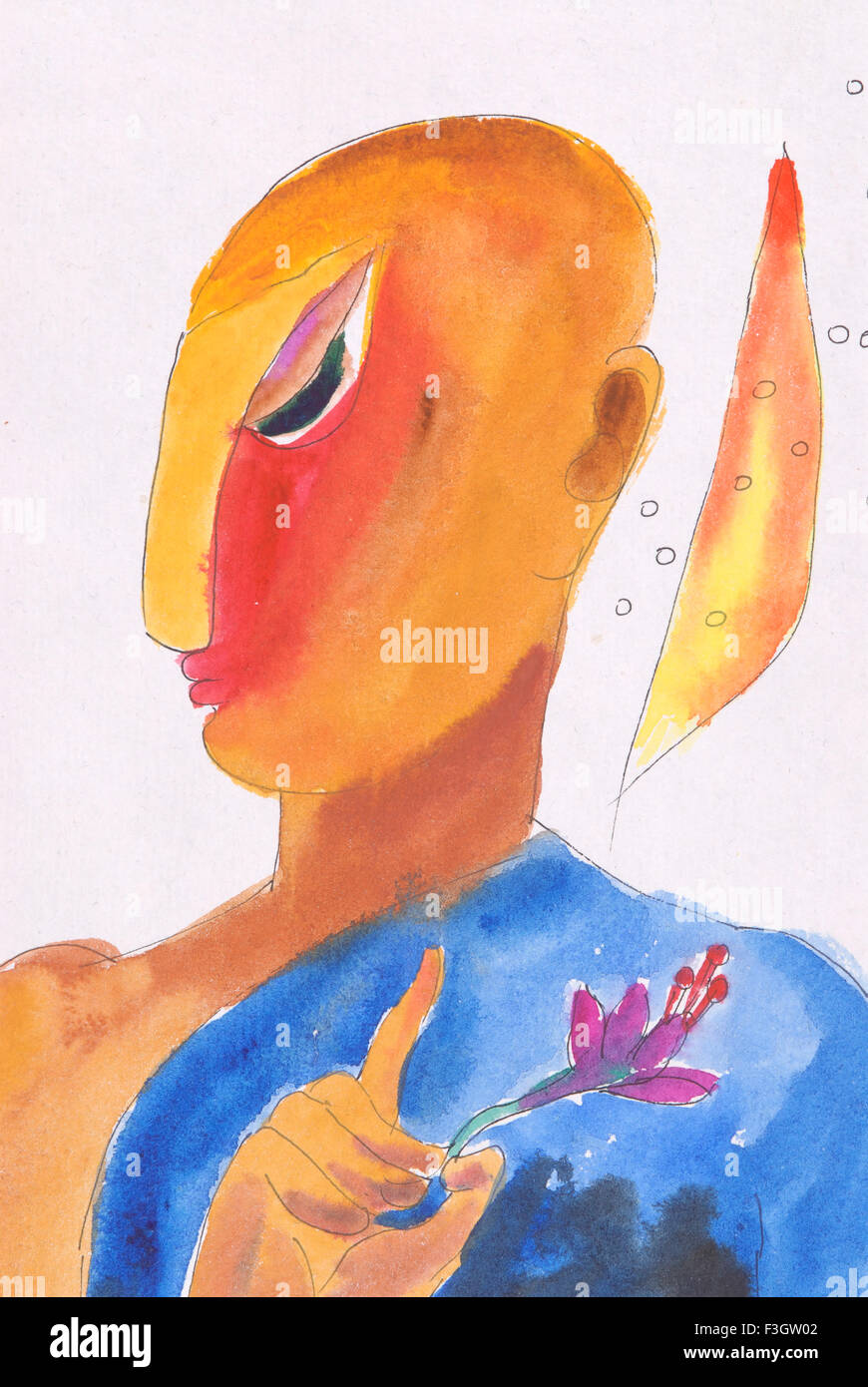 Thinker man with flower watercolor on paper - Stock Image