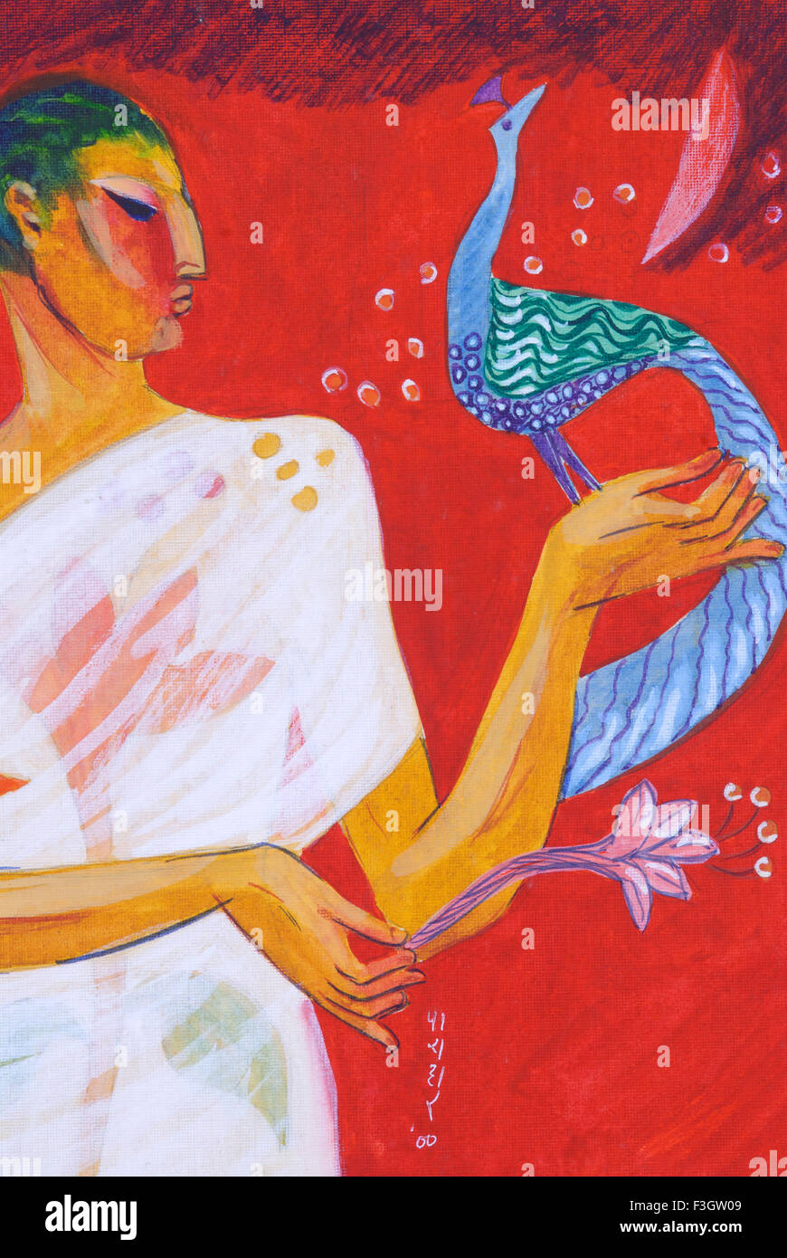 Ascetic Offering Lotus Flower To Bird Painted Flower On His White