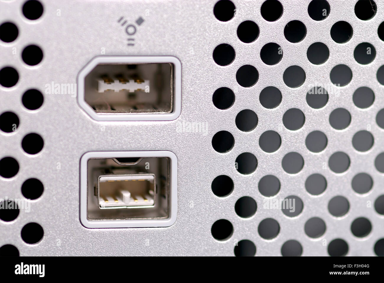 Pair of fire wire 400 and 800 ports - Stock Image