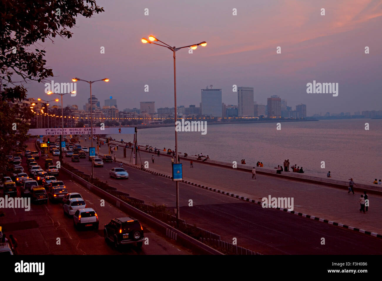 Nariman Point to Marine Lines view on Marine Drive Mumbai Bombay Maharashtra India - vhm 134286 - Stock Image