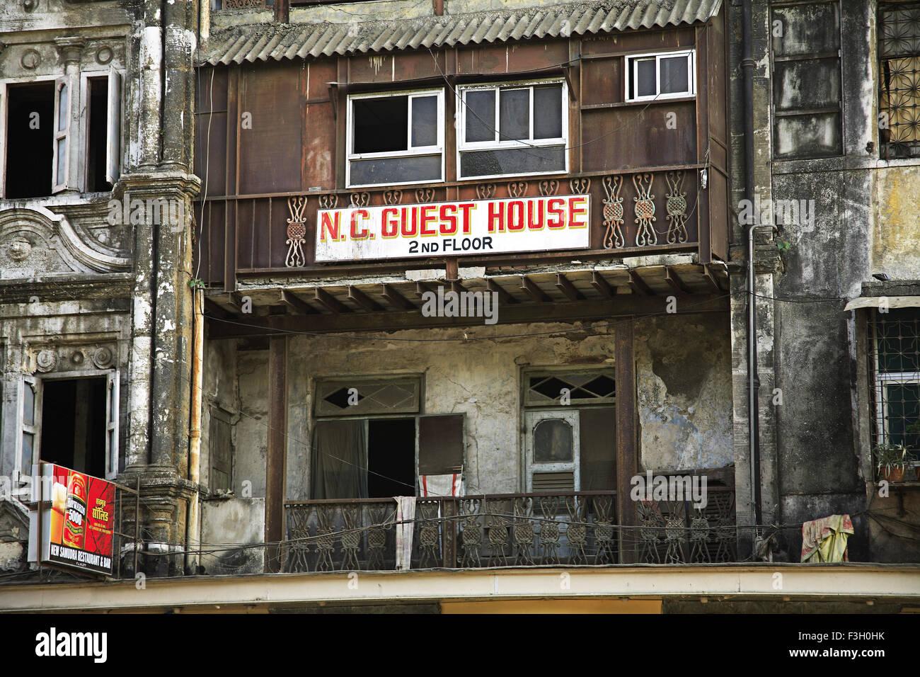 N. C. guest house ; J. Boman Behram road ; Bombay now Mumbai ; Maharashtra ; India - Stock Image