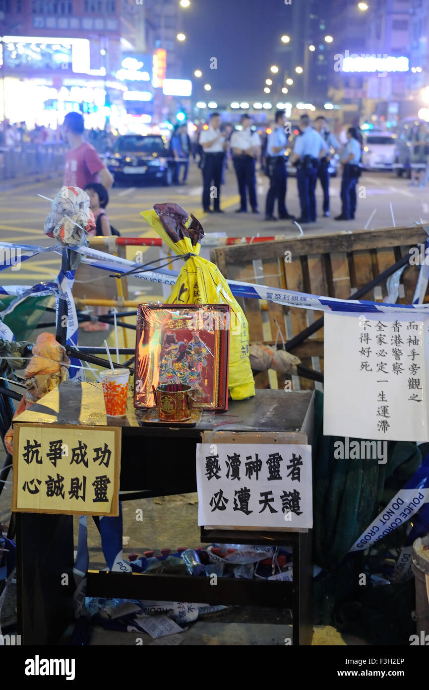 HONG KONG, CHINA – OCT 7 2014: During Umbrella movement, roadblock with a temple is setup by protestor. - Stock Image
