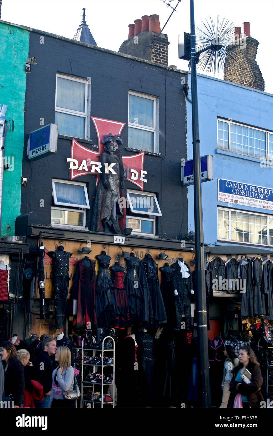 Leather goods store in Camden town market ; London ; U.K. United Kingdom England - Stock Image