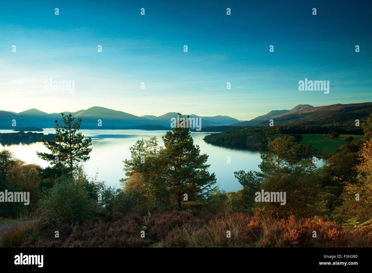 Ben Lomond, the Luss Hills and Loch Lomond from Craigie Fort above Balmaha, Loch Lomond and the Trossachs National - Stock Image