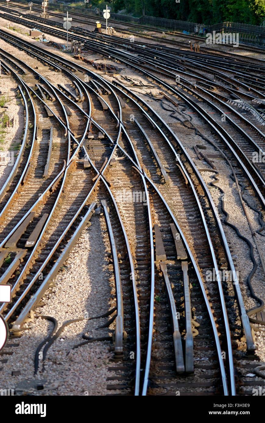 Tube train tracks ; Harrow On The Hill Middlesex London ; U.K. United Kingdom England - Stock Image