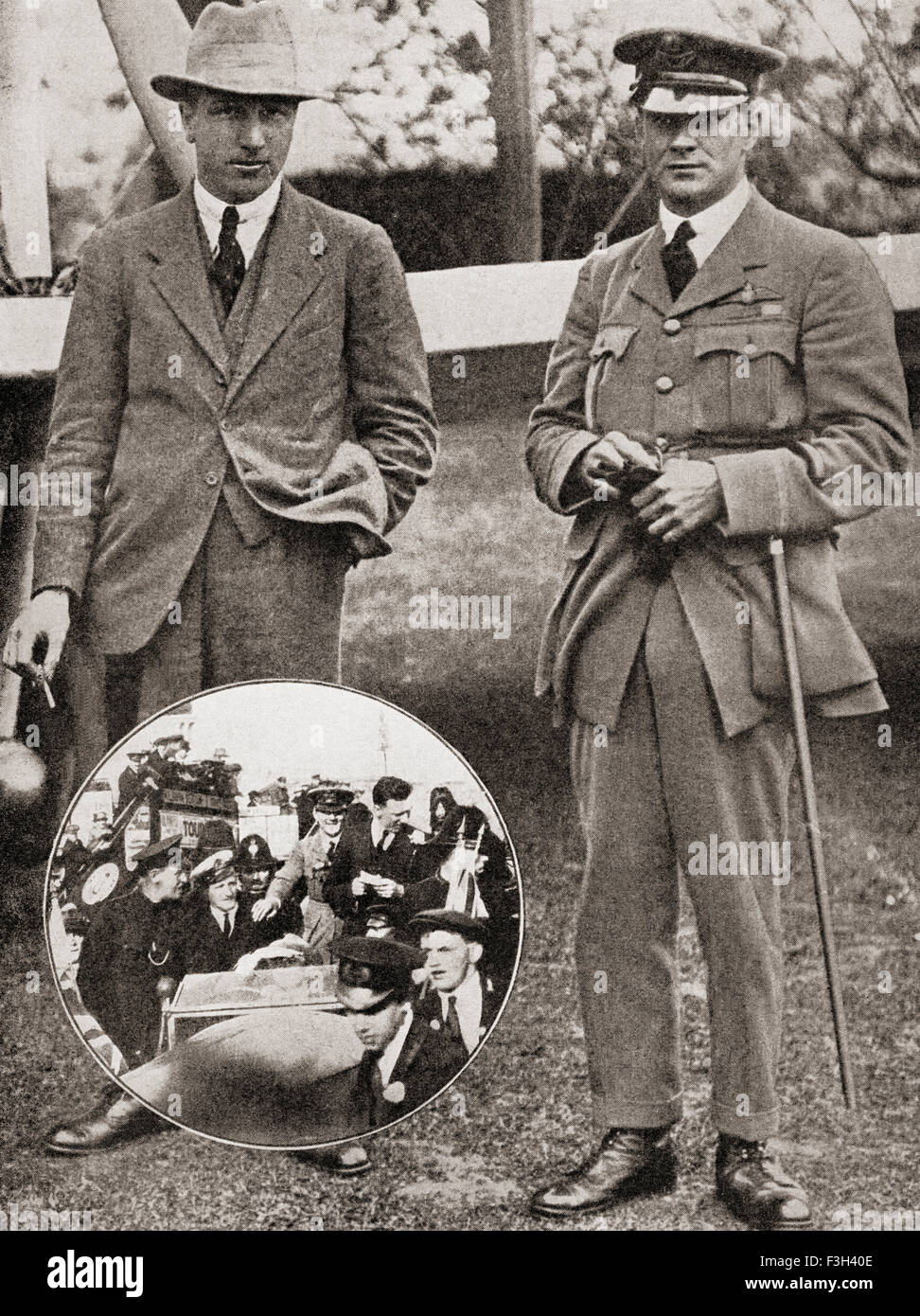Lieutenant Colonel Sir Arthur Whitten Brown, 1886– 1948, left, and Captain Sir John William Alcock, 1892 – 1919, - Stock Image