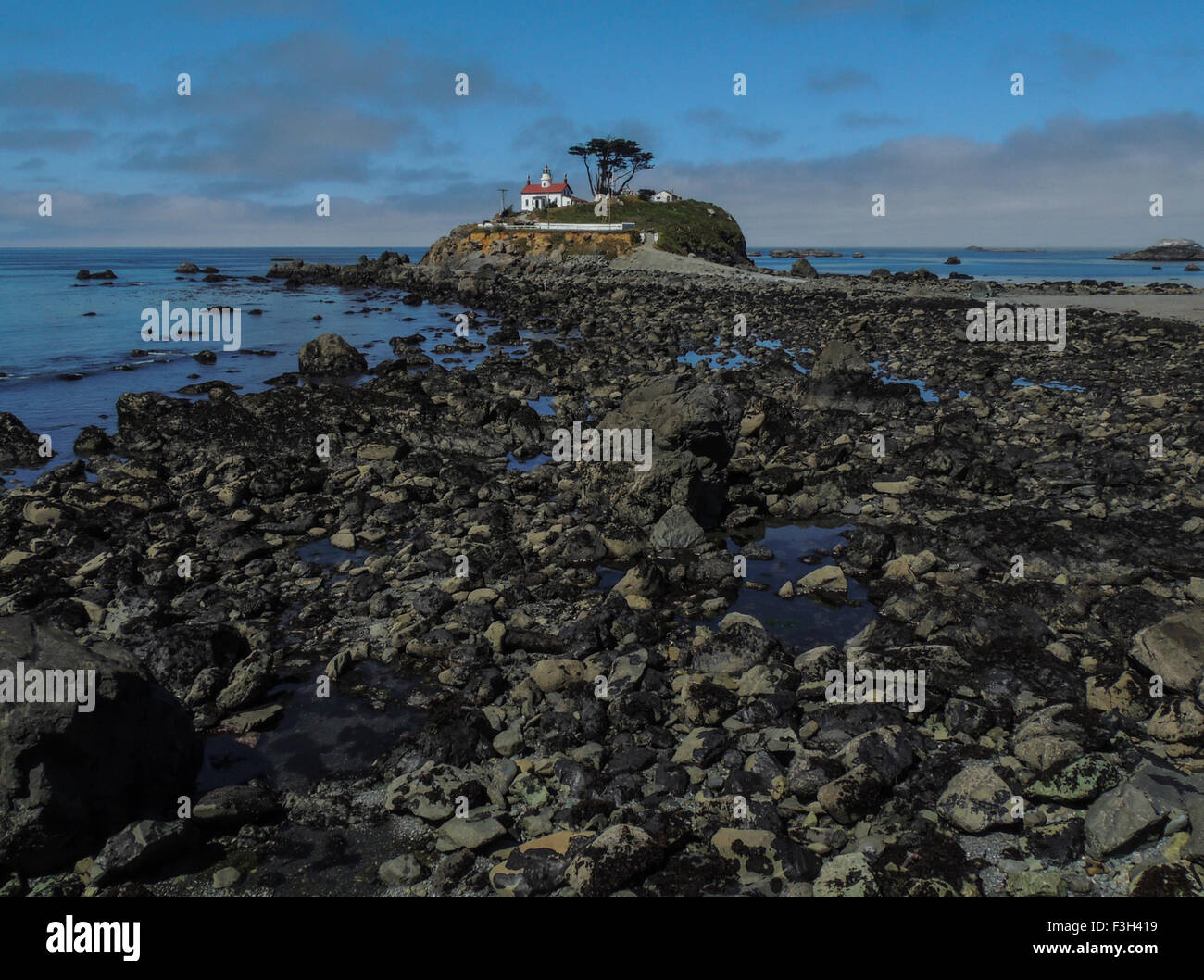 Historic (1856) Battery Point Lighthouse, Crescent City, California, Pacific Coast. Viewed from the Jetty which Stock Photo