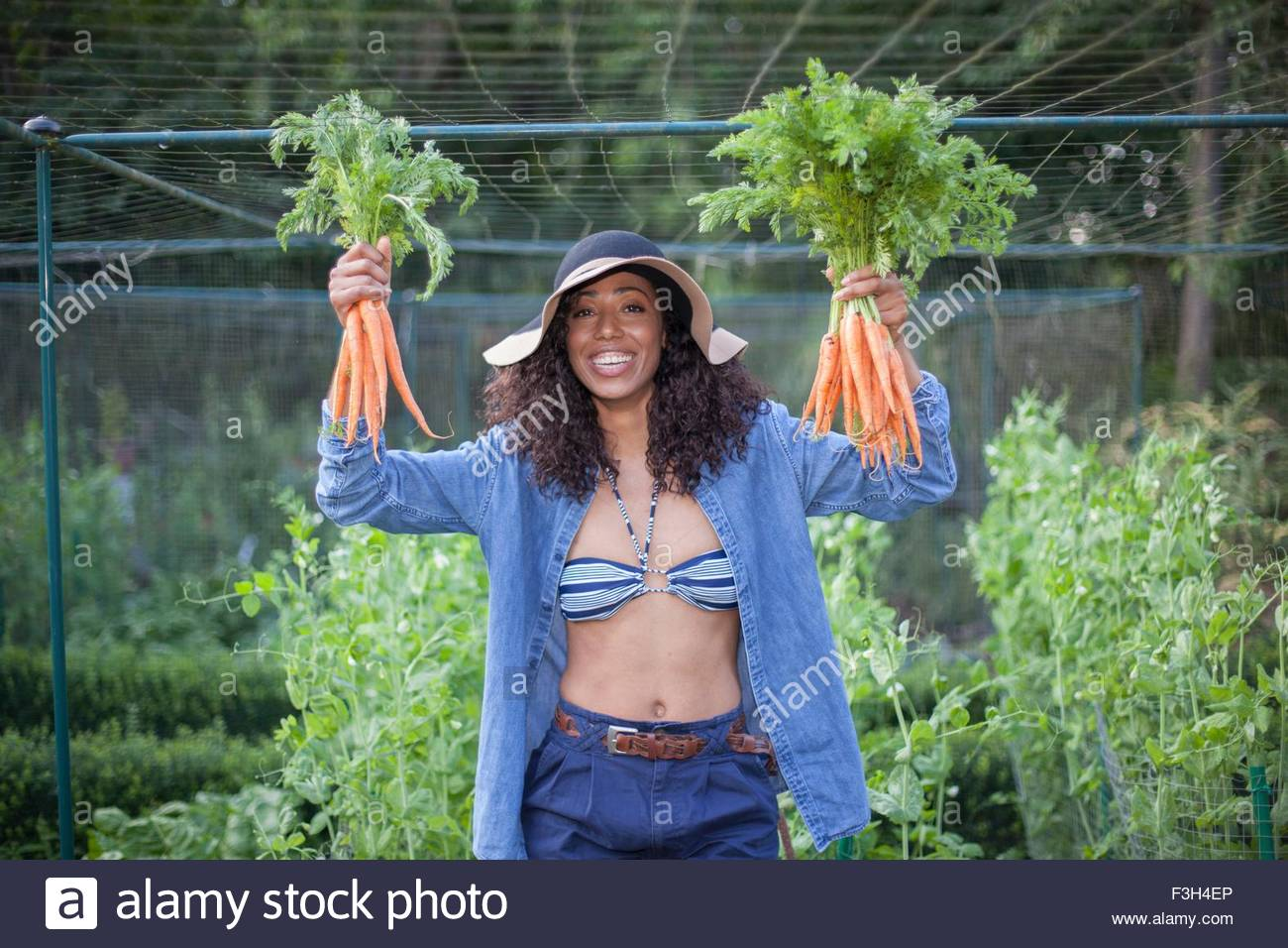 Woman holding up carrots from allotment Stock Photo