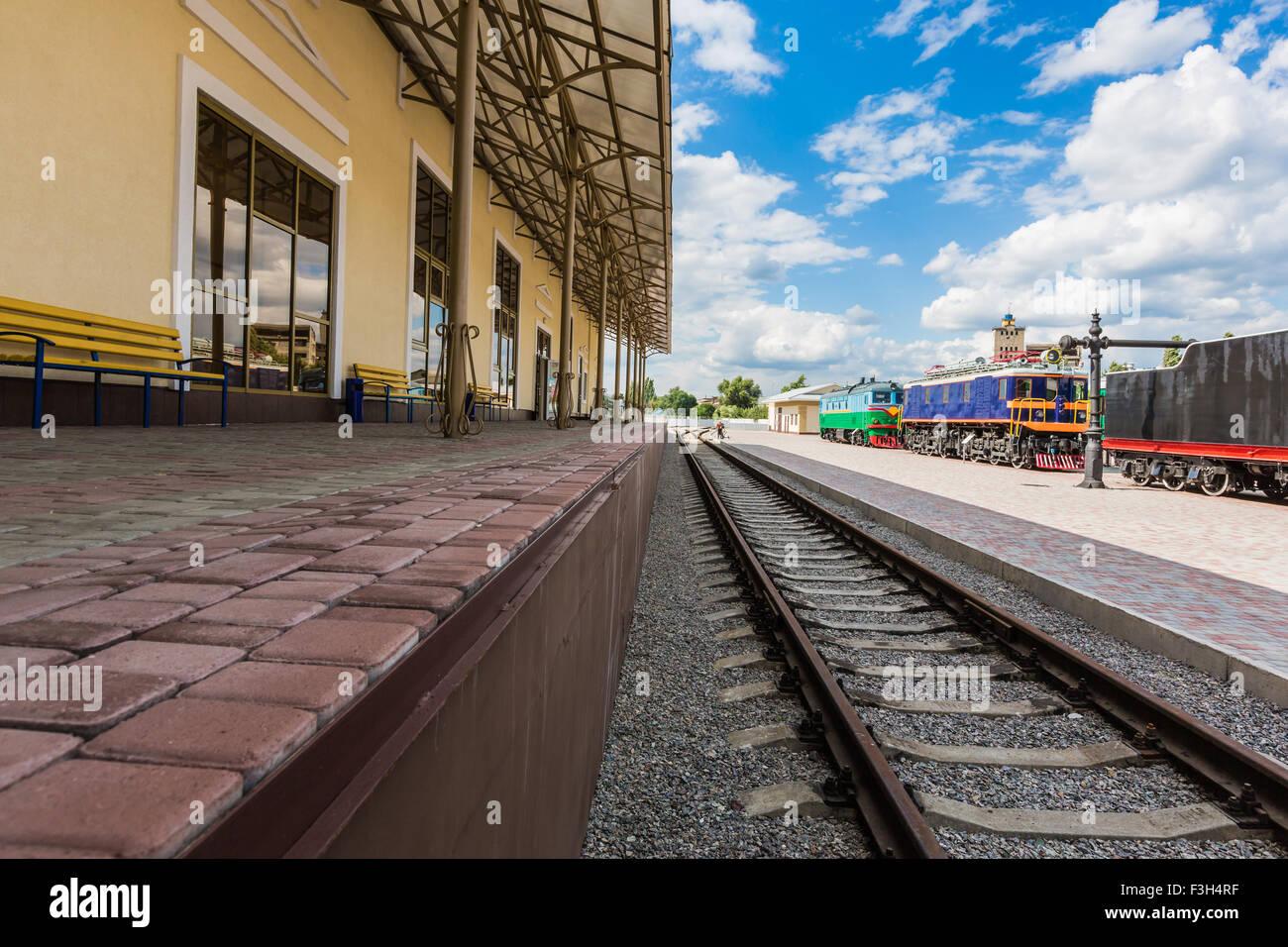 Vintage Railway Station Platform With Old Trains