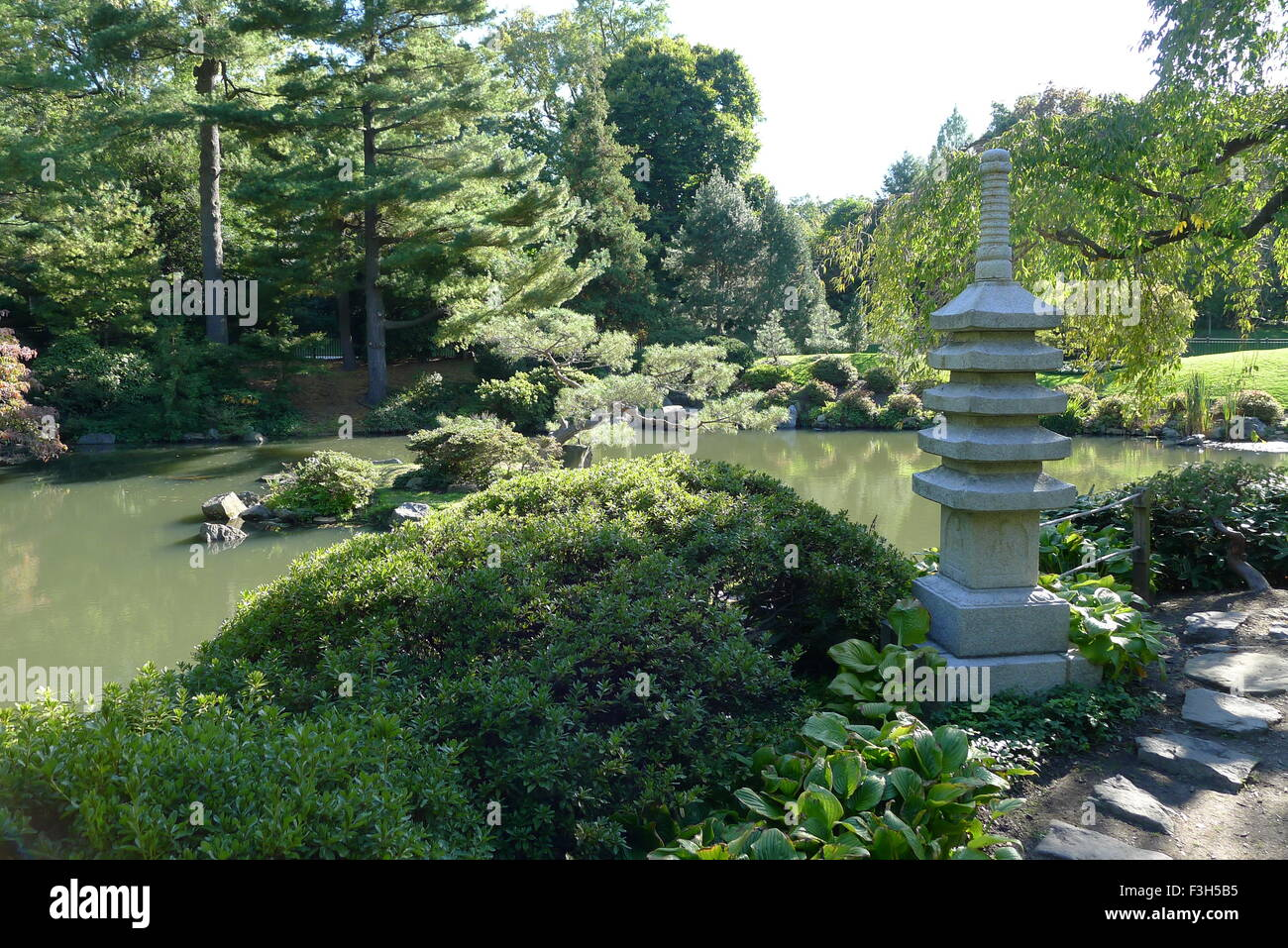 Stone Pagoda And Japanese Garden In Fairmount Park   Stock Image