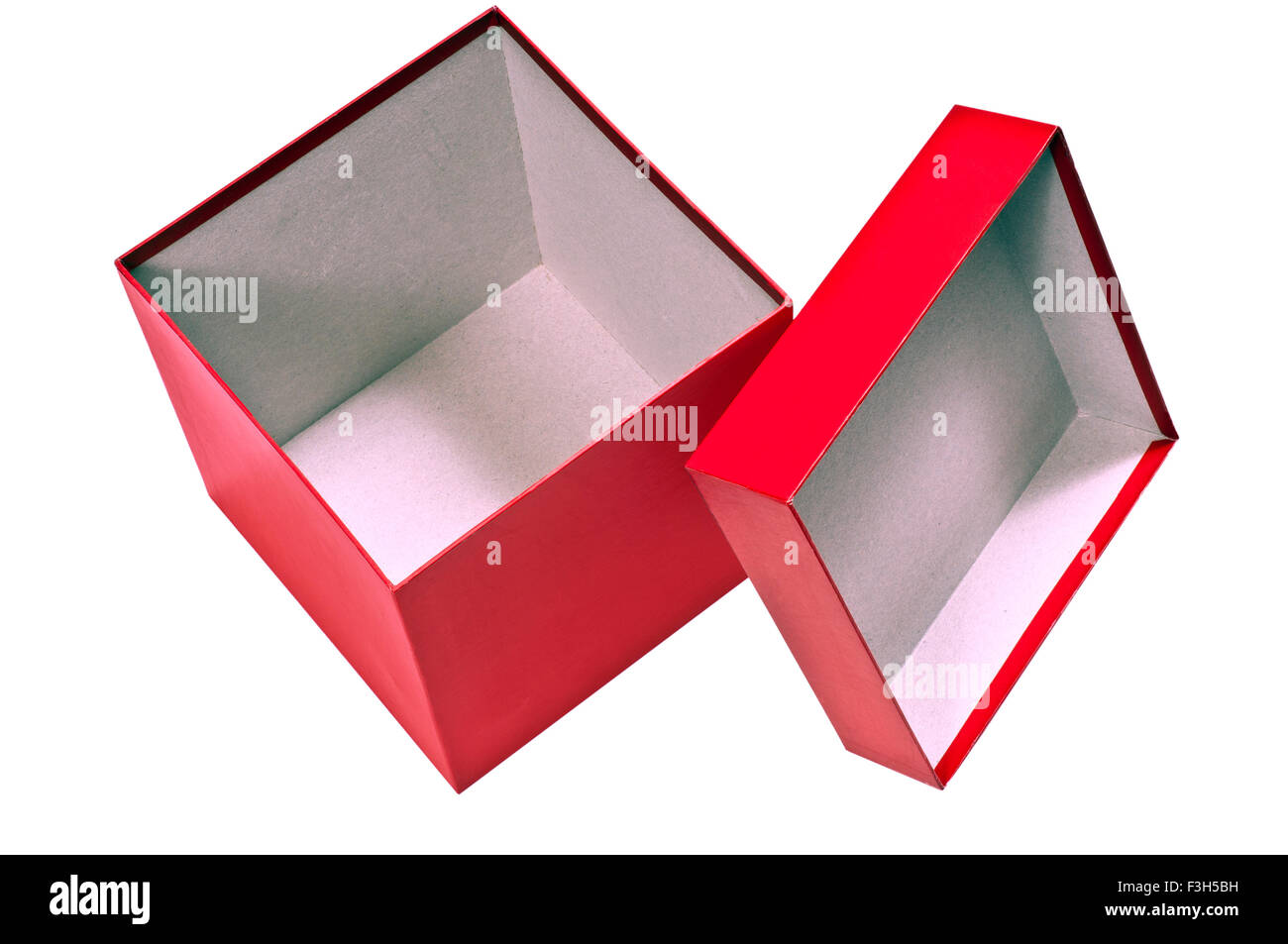 Red Box Empty With Lid - Stock Image