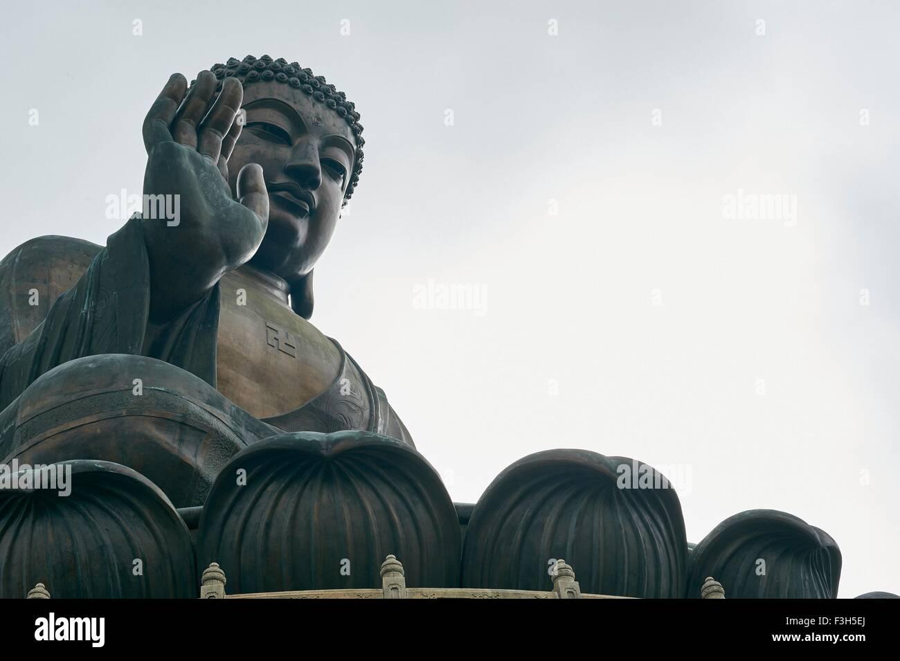 Big Buddha, Lantau Island, Hong Kong, low angle view - Stock Image