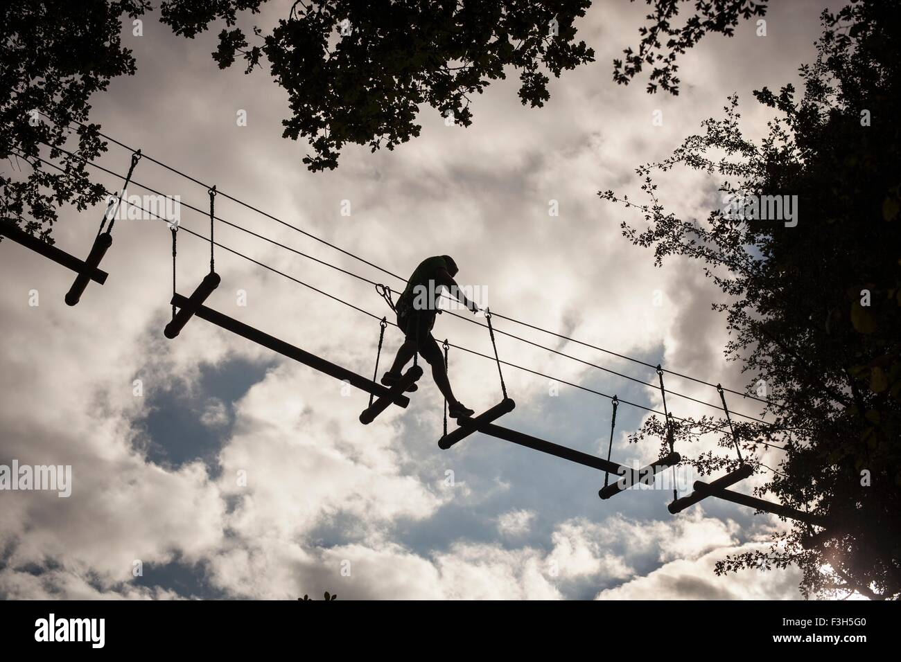 Mature man, high rope walking, low angle view - Stock Image
