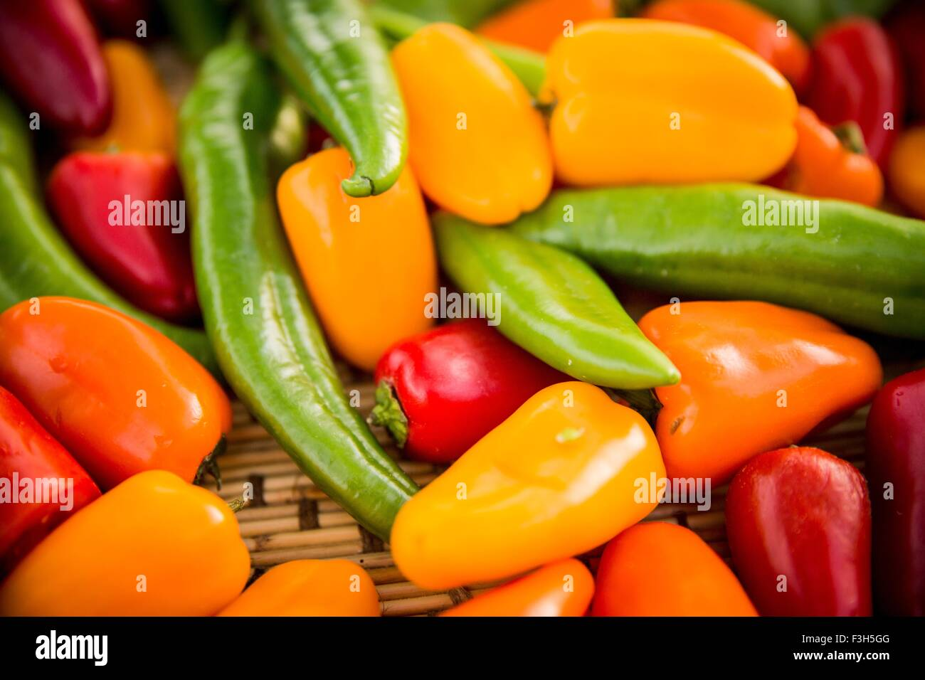 Selection of colourful peppers, full frame, close-up - Stock Image