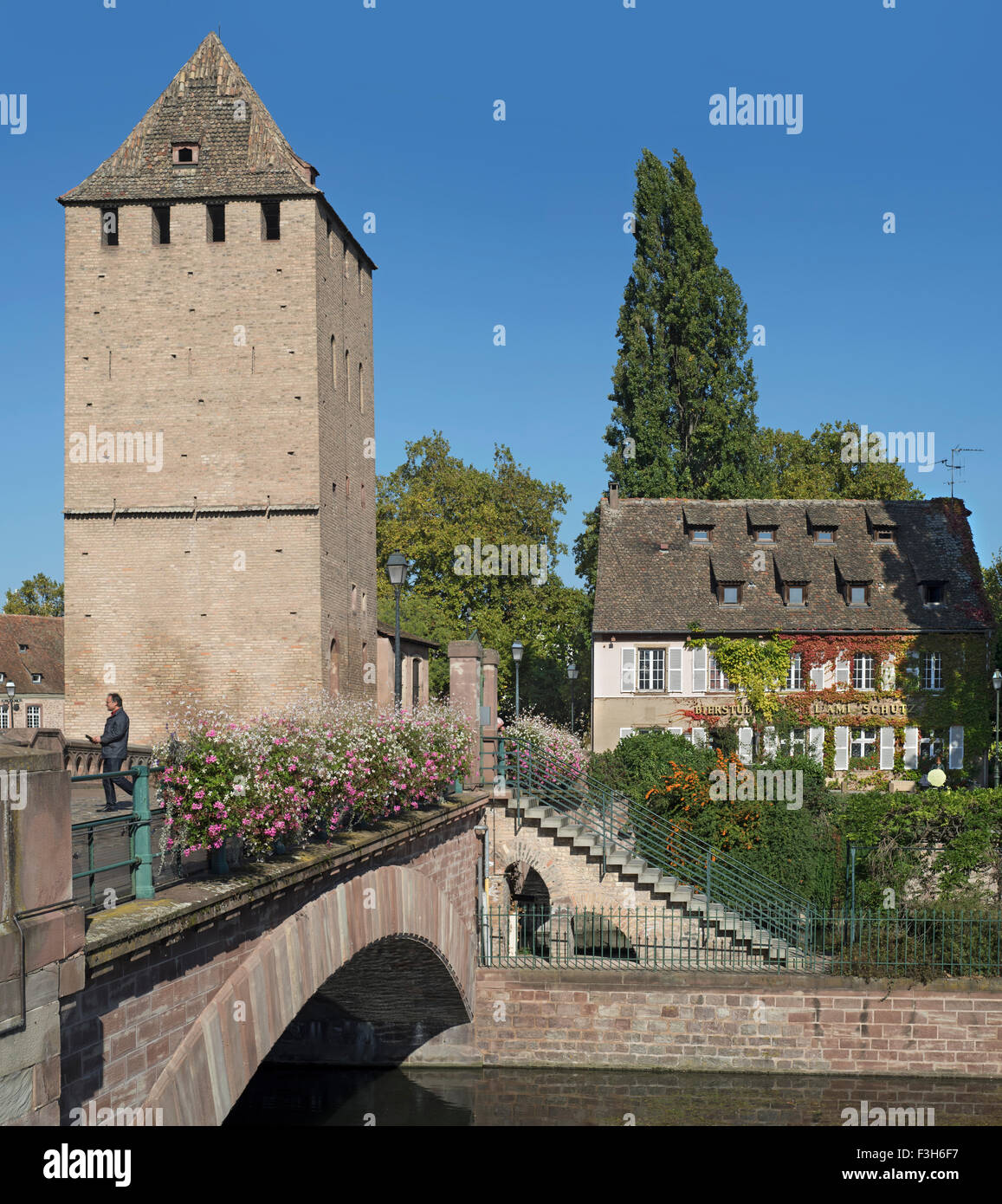 One of four towers of the medieval Ponts Couverts over the River Ill in the Petite France quarter at Strasbourg, - Stock Image