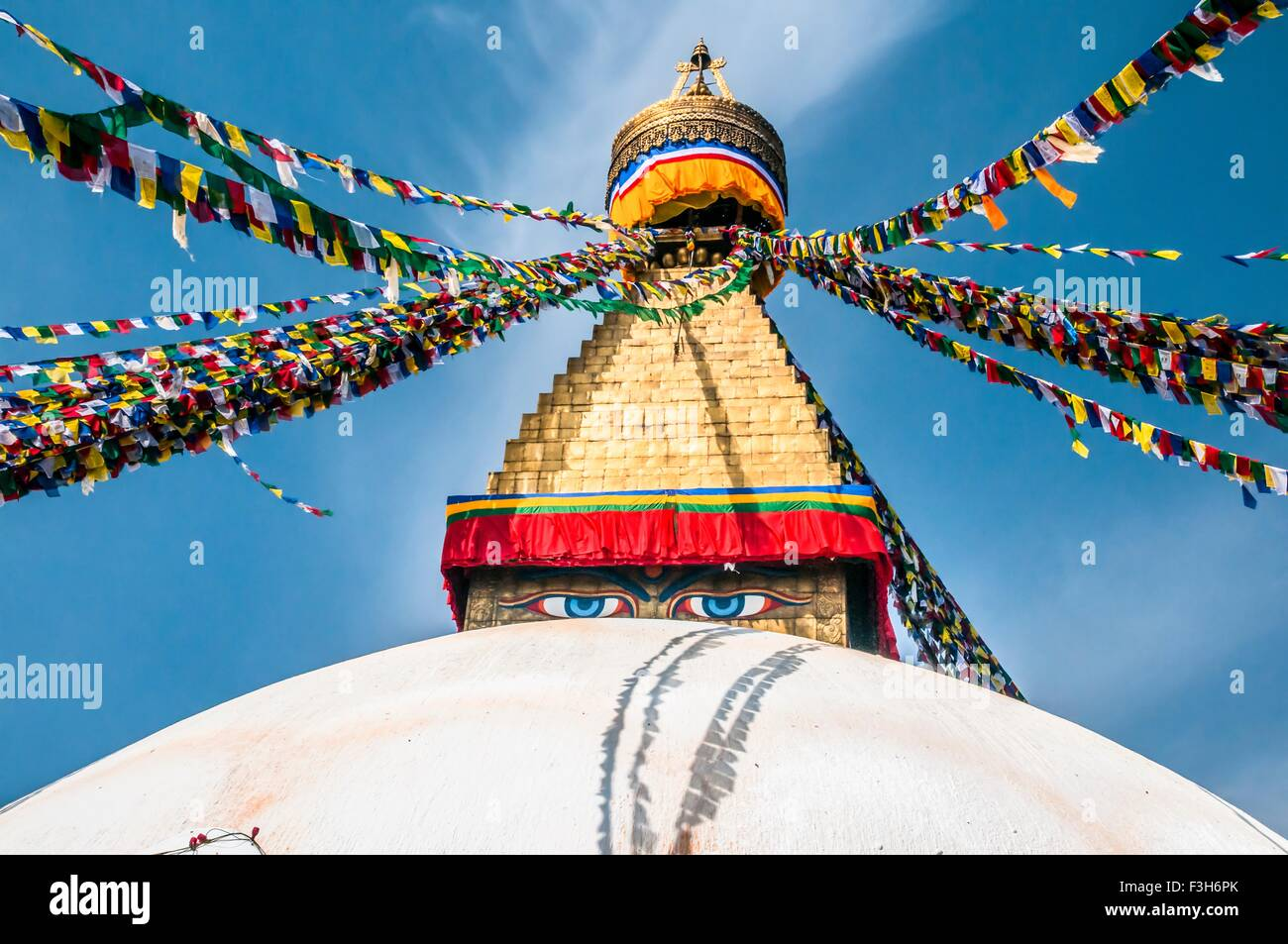 Prayer Flags at Boudhanath stupa in Kathmandu, Nepal - Stock Image