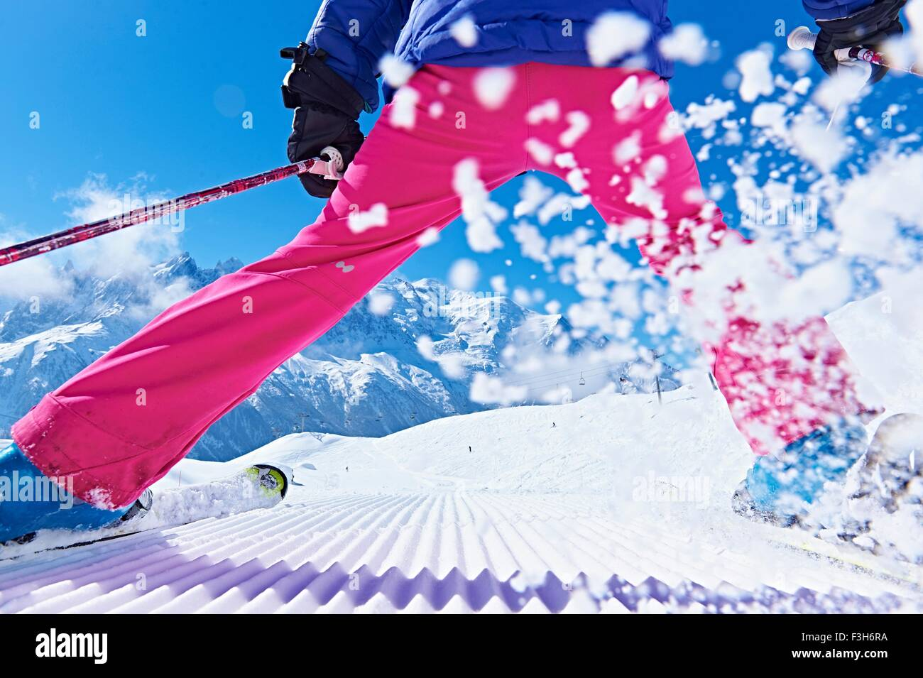 Rear view of skier, Chamonix, France - Stock Image