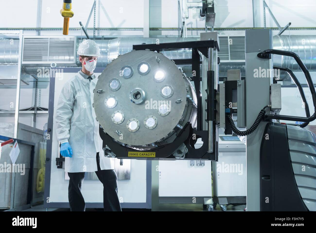 Graphene nanomaterial manufacturing environment in graphene processing factory - Stock Image