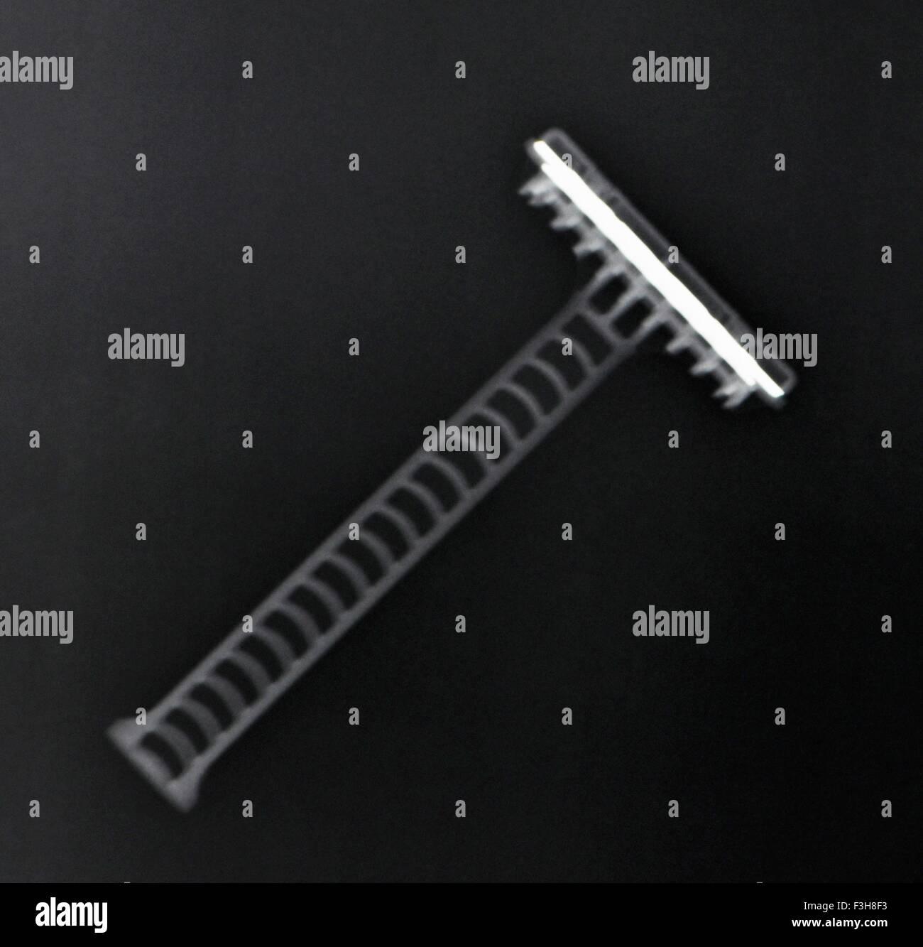 X-ray of disposable razor - Stock Image