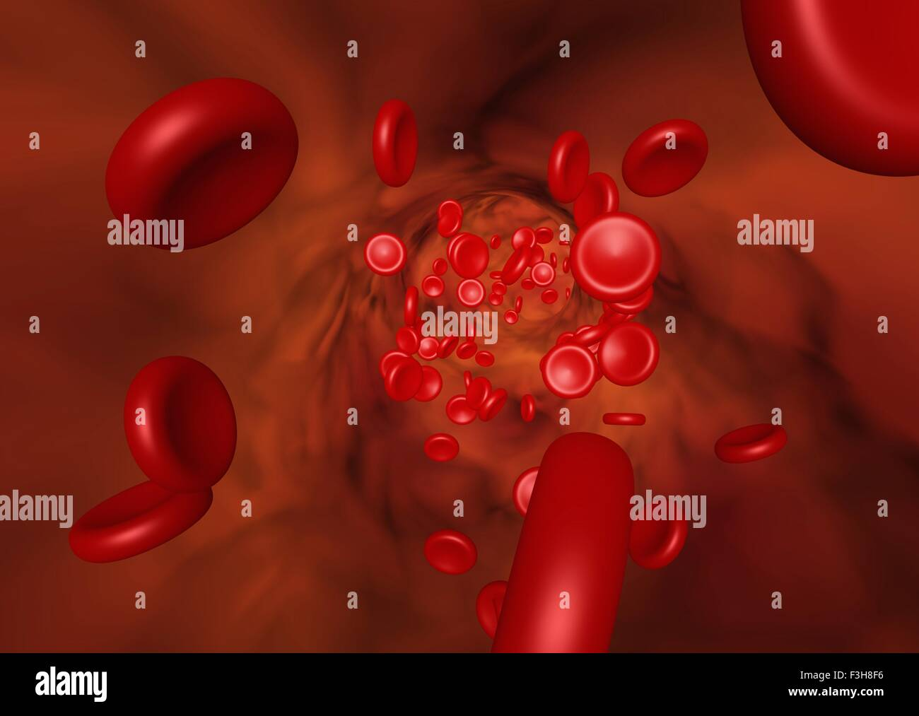 3D illustration showing the red blood cell flow in a vessel - Stock Image