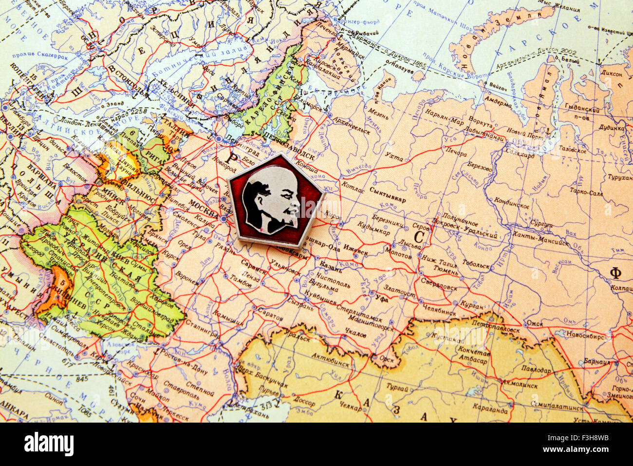 Lenin on the political map USSR 1953 - Stock Image
