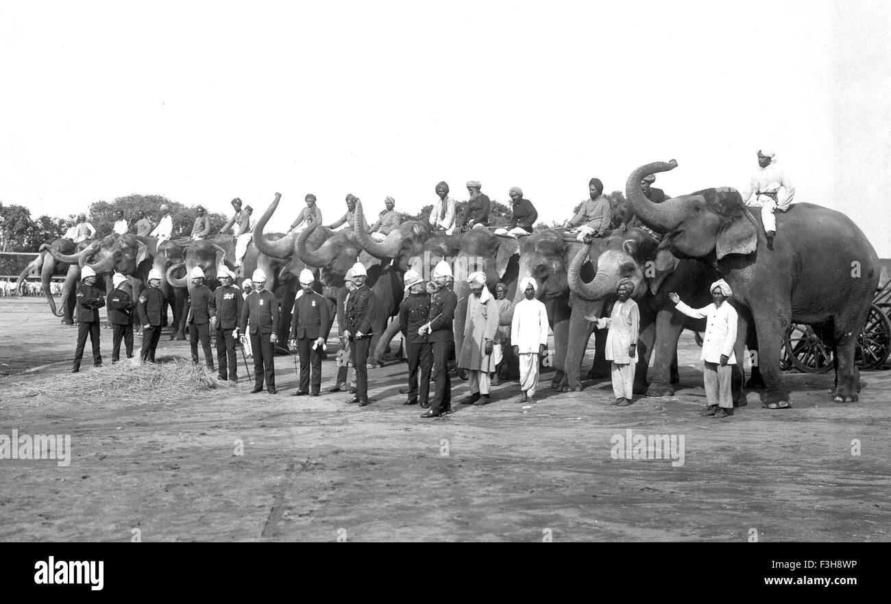 BRITISH INDIAN ARMY Elephant Battery in 1900 - Stock Image