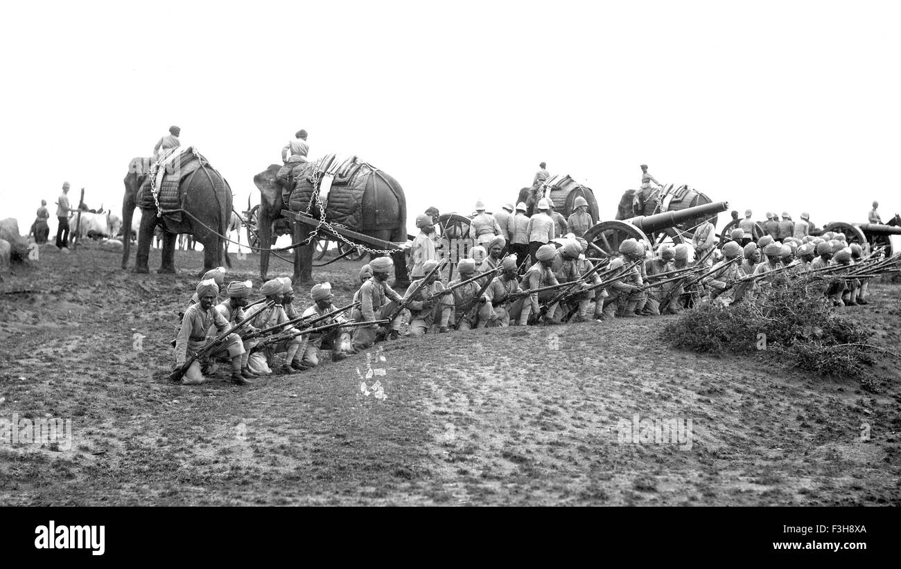 BRITISH INDIAN ARMY Artillery unit with Elephants about 1905 - Stock Image