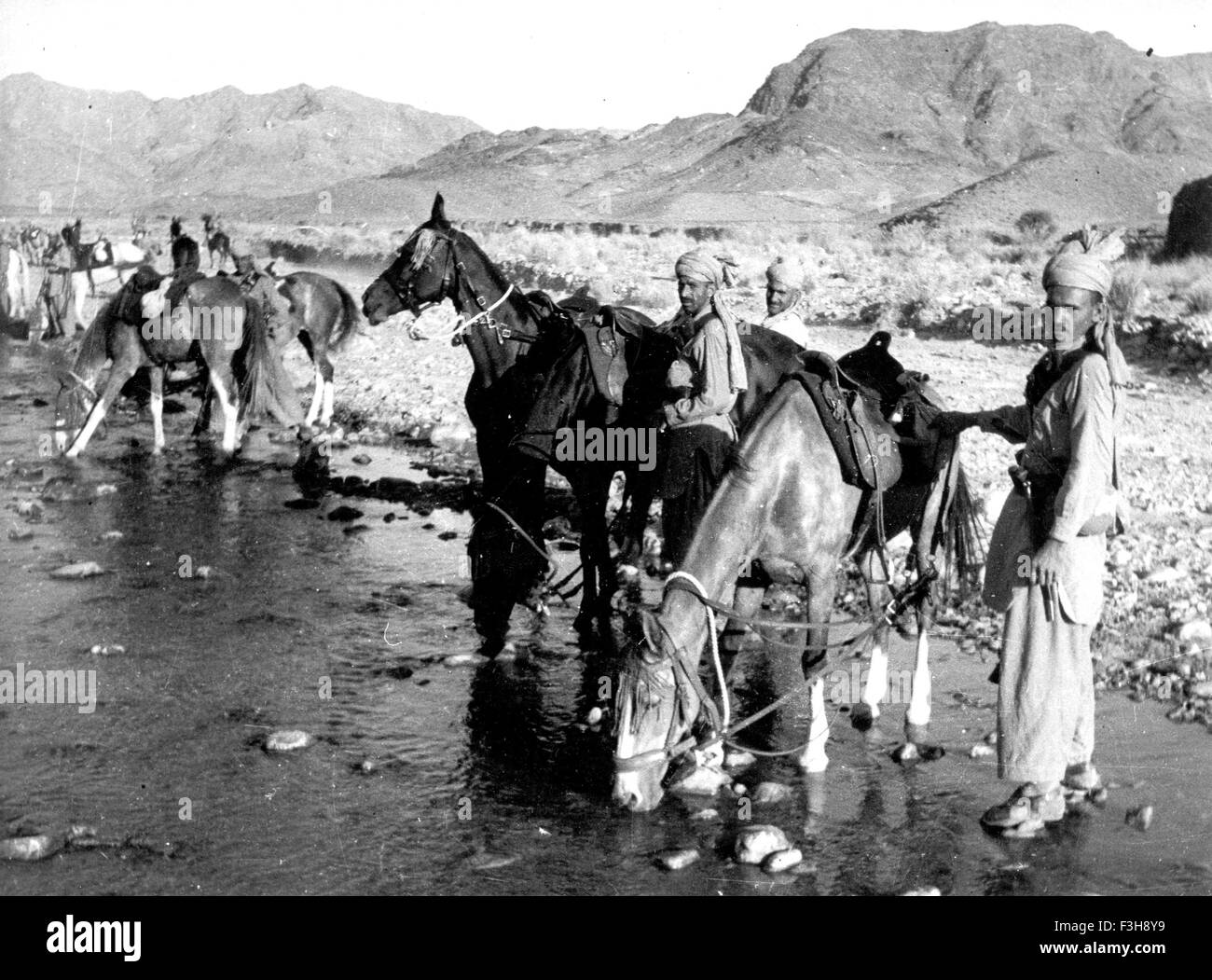 BRITISH INDIAN ARMY  Indian Mounted Scouts on the north-west frontier about 1940 - Stock Image