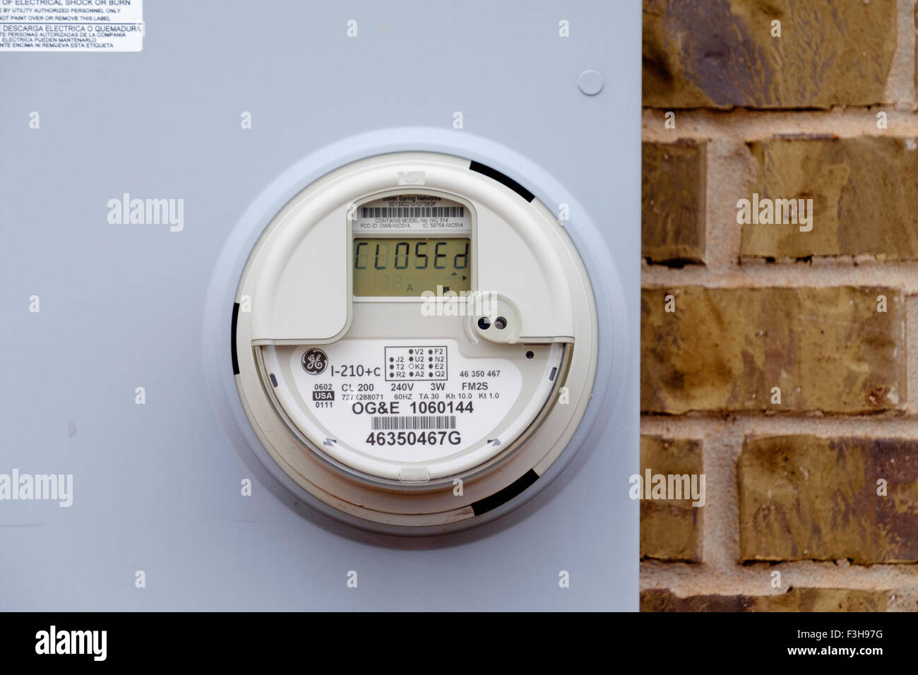 A closed electric meter in Oklahoma, USA. - Stock Image