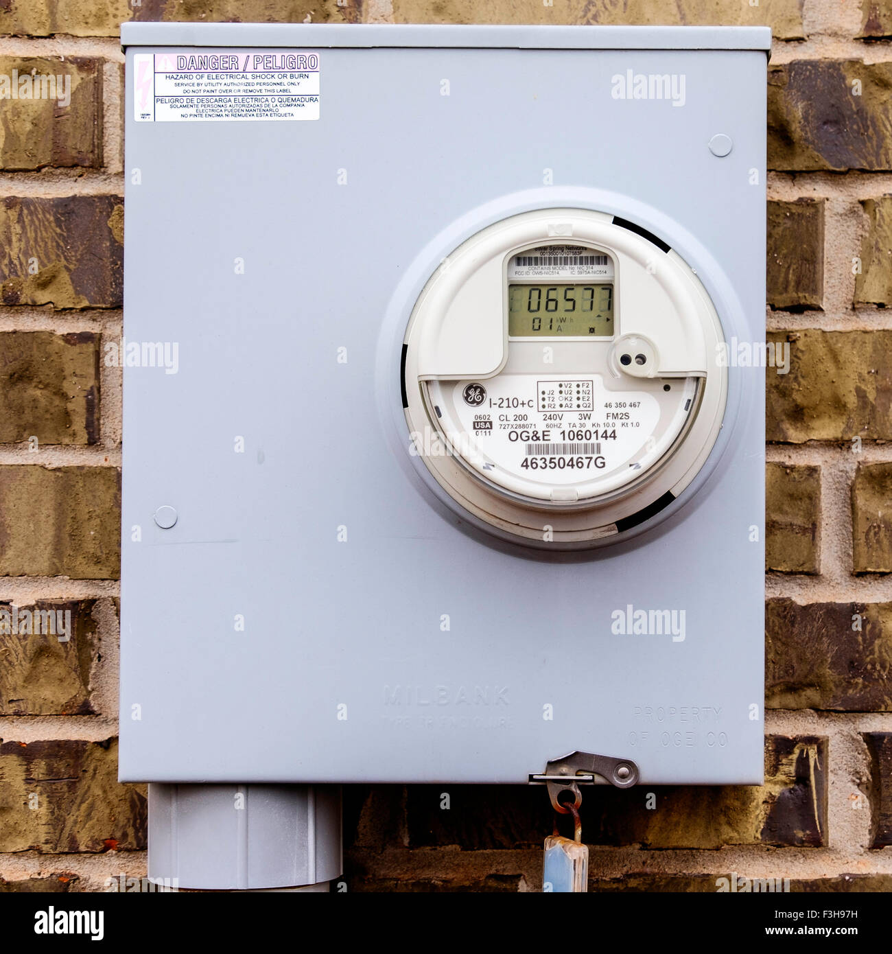 A closeup image of an electric meter in Oklahoma City, Oklahoma, USA. - Stock Image