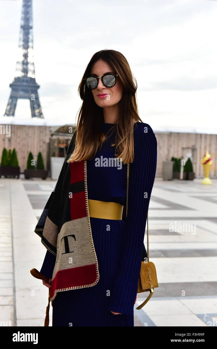 Lena Terlutter posing at the Haider Ackermann venue during Paris Fashion Week - Oct 3, 2015 - Photo: Runway Manhattan/Celine Stock Photo