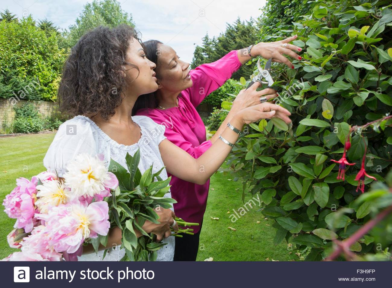 Mother and grown daughter in garden together - Stock Image