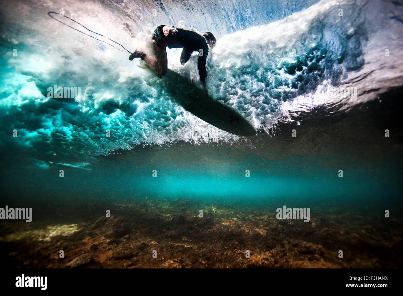 Underwater view of surfer falling through water after catching a wave on a shallow reef in Bali, Indonesia - Stock Image