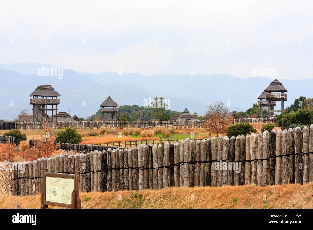 Yoshinogari Park. Yayoi settlement. Minaminaikaku, rulers area. Watchtowers - Stock Image