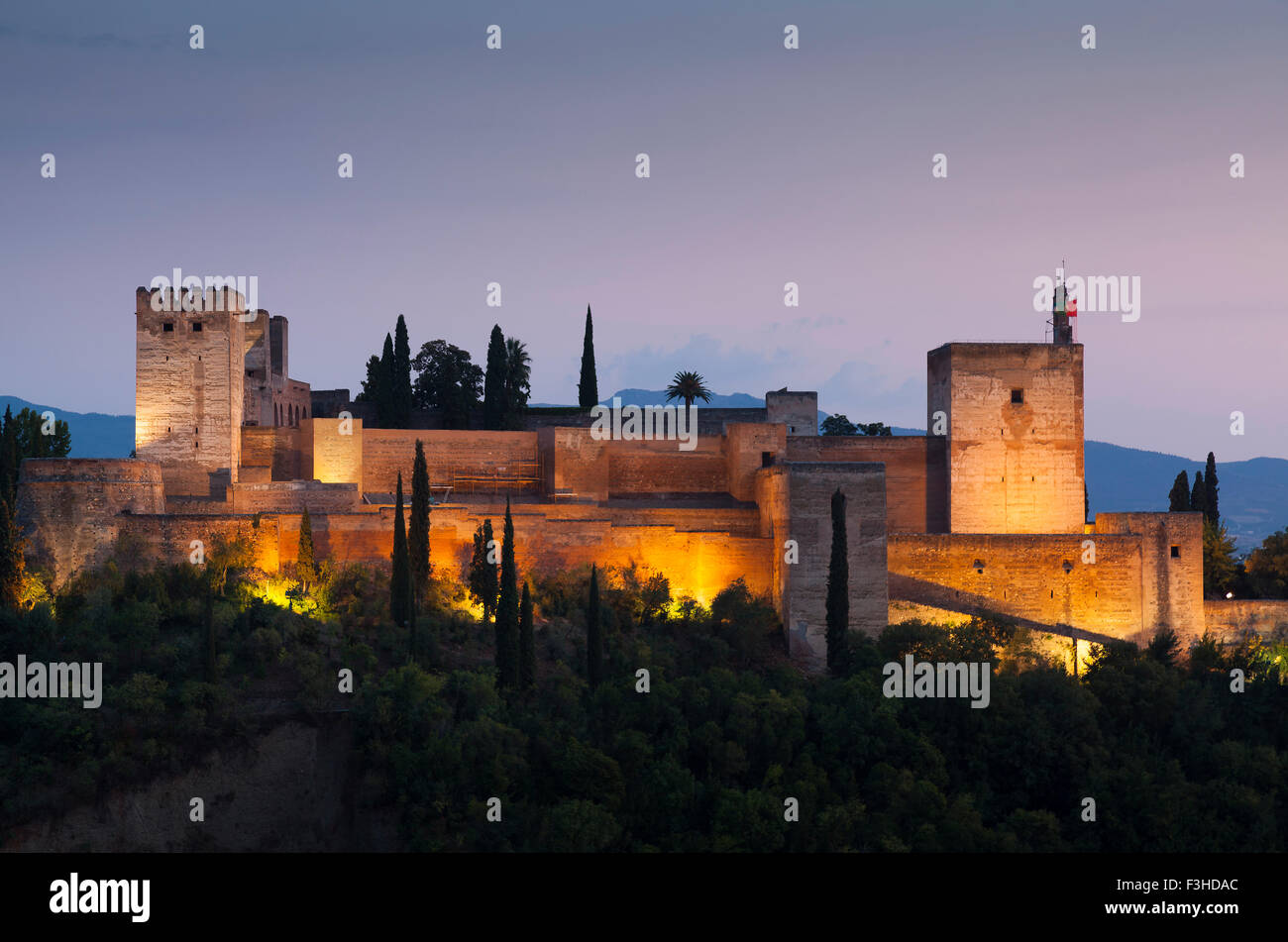 Nightfall in La Alhambra, Granada, Andalucia, Spain - Stock Image