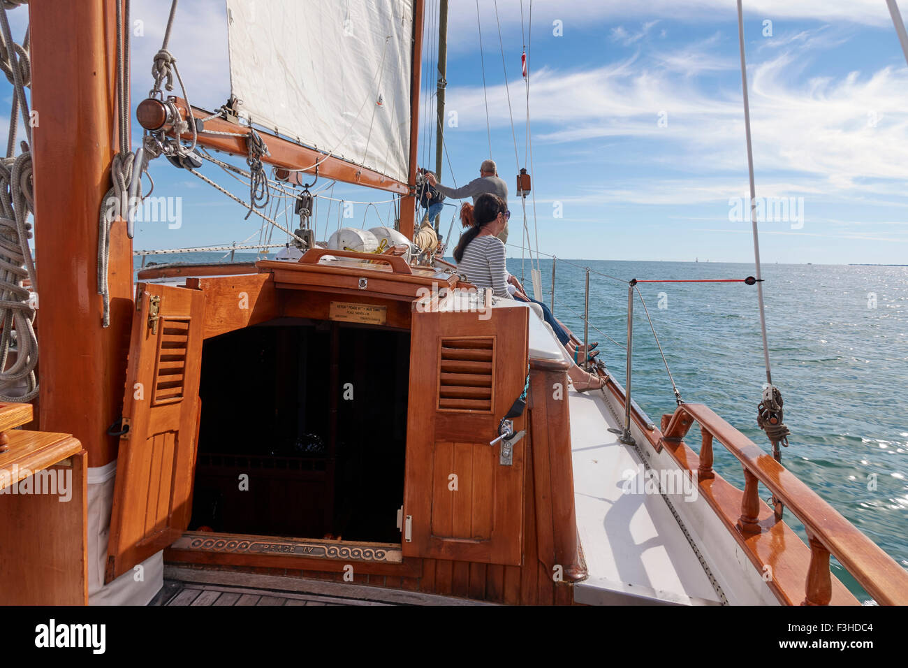 Sailing On Lake Ontario Canada In A Formosa Ketch Made From Teak Wood - Stock Image