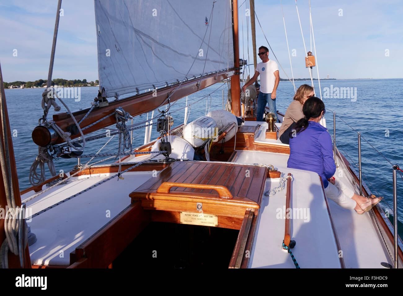 A Formosa Sailing Ketch Made In Taiwan Sailing On Lake Ontario Out Of Port Dover Canada - Stock Image