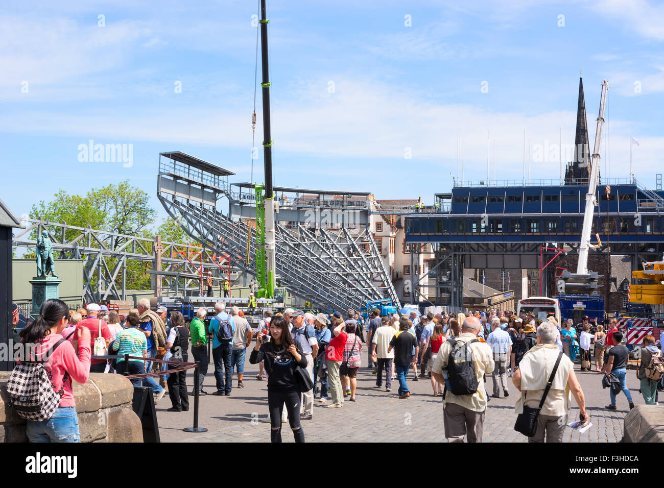 EDINBURGH, SCOTLAND - JUNE 11, 2015: Preparations for Edinburgh Military Tattoo festival Stock Photo