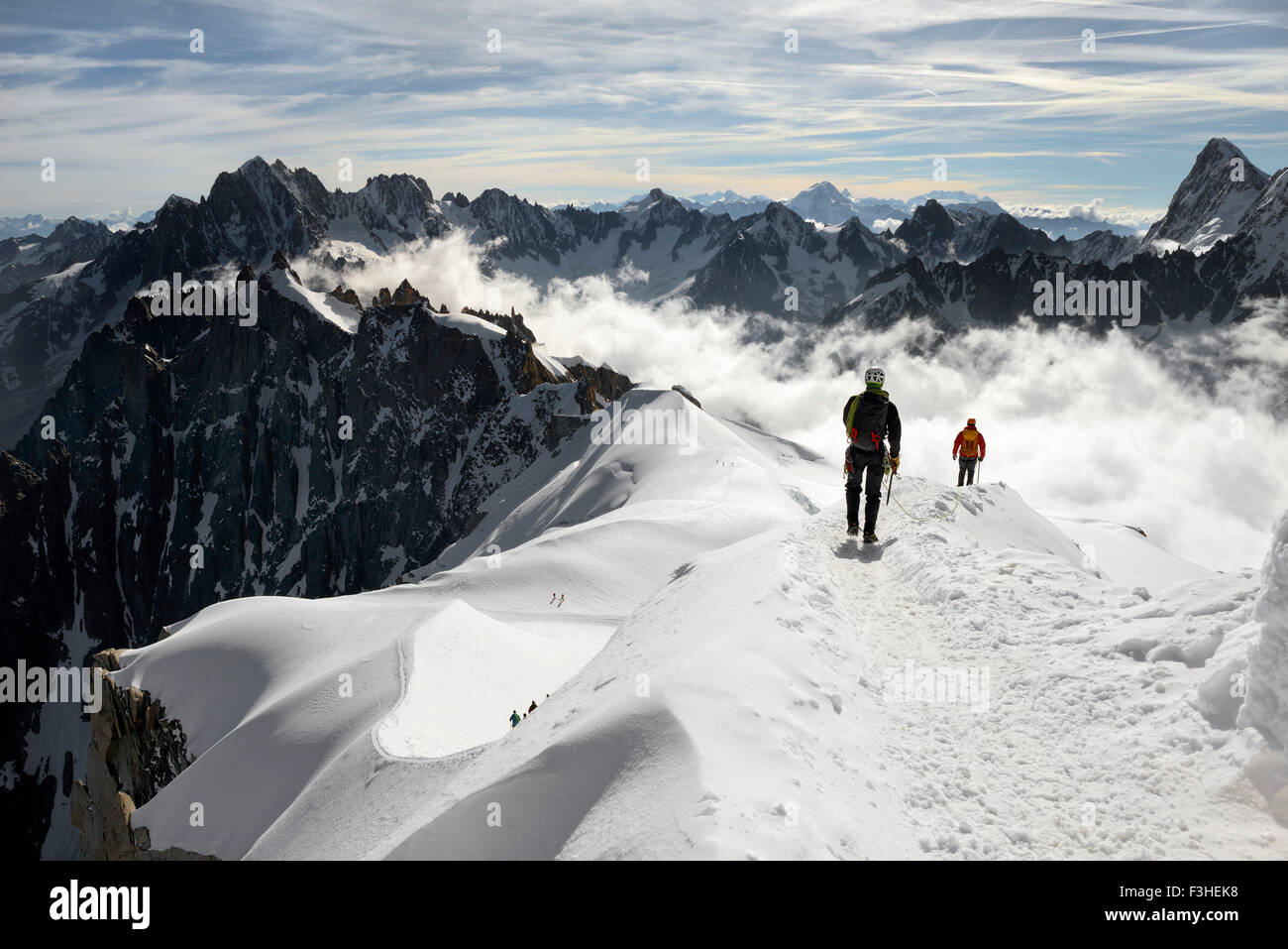 Mountaineers and climbers, Aiguille du Midi, Mont Blanc Massif, Chamonix, French Alps, Haute Savoie, France, Europe Stock Photo