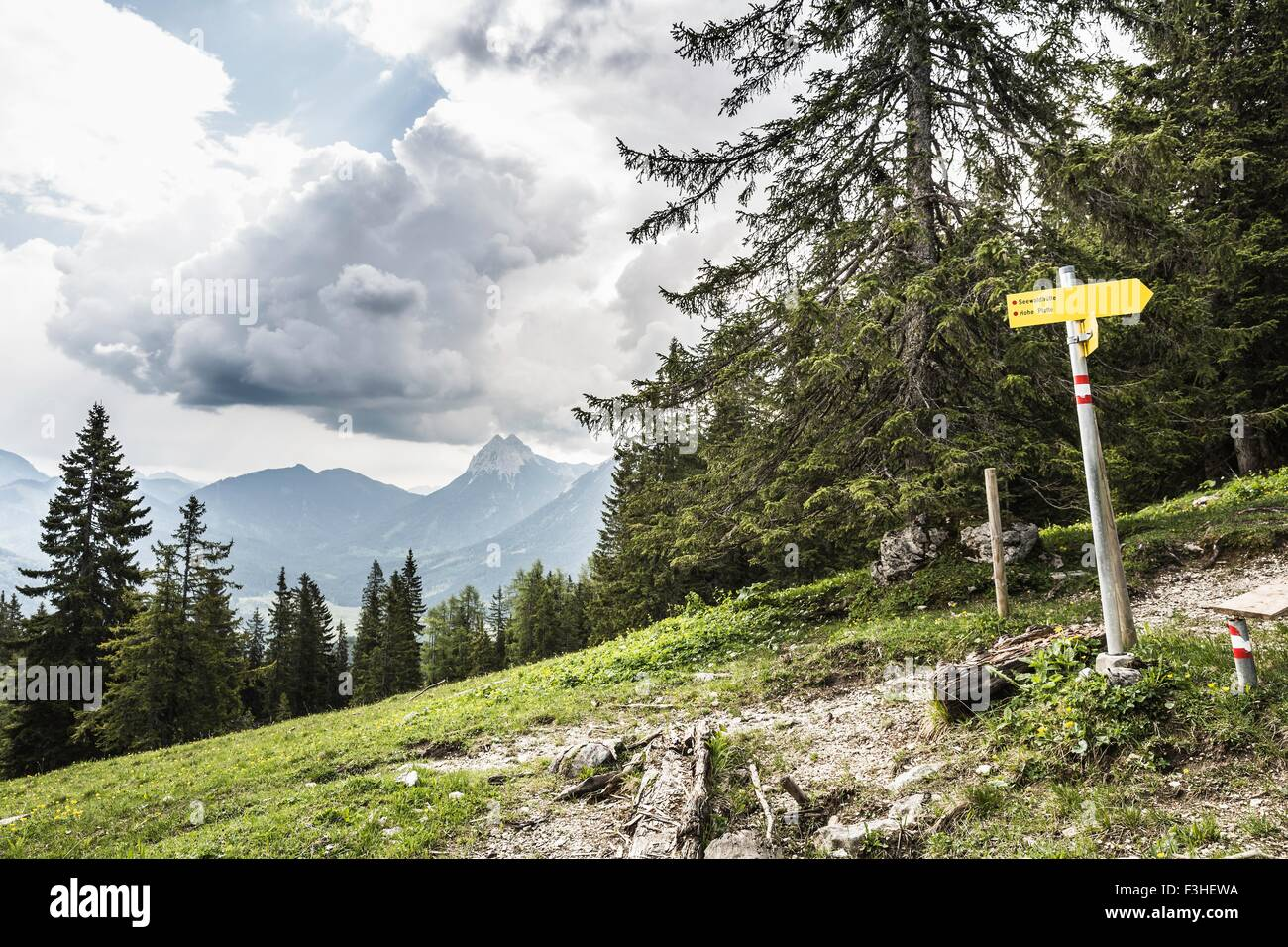 Hilly landscape and direction sign, Achenkirch, Austria - Stock Image